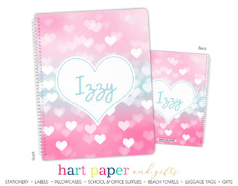 Teal & Pink Hearts Personalized Notebook or Sketchbook School & Office Supplies - Everything Nice