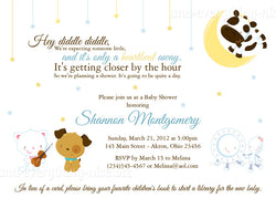 Hey Diddle Diddle Nursery Rhyme Party Invitation • Baby Shower Birthday • Any Colors Baby Shower Invitations - Everything Nice