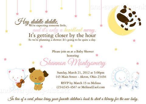 Hey Diddle Nursery Rhyme Party Invitation O Baby Shower Birthday Any Colors