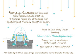 Humpty Dumpty Party Invitation • Baby Shower Birthday • Any Colors