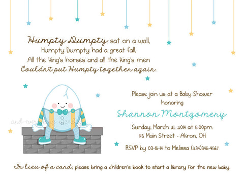 Humpty Dumpty Party Invitation • Baby Shower Birthday • Any Colors Baby Shower Invitations - Everything Nice