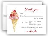 Ice Cream Thank You Cards Note Card Stationery •  Fill In the Blank Stationery Thank You Cards - Everything Nice