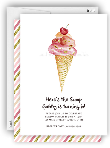 Ice Cream Cone Party Invitation • Baby Shower Birthday Picnic • Any Colors Kids Birthday Invitations - Everything Nice