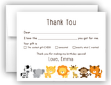 Safari Animals Thank You Cards Note Card Stationery •  Fill In the Blank Stationery Thank You Cards - Everything Nice