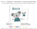 Koala Bear Personalized Notebook or Sketchbook School & Office Supplies - Everything Nice