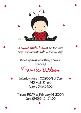 Ladybug Lady Bug Baby Shower Invitation • Any Colors Baby Shower Invitations - Everything Nice