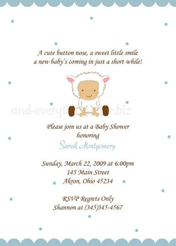 Copy of Baby Lamb Sheep Baby Shower Invitation • Any Colors Baby Shower Invitations - Everything Nice