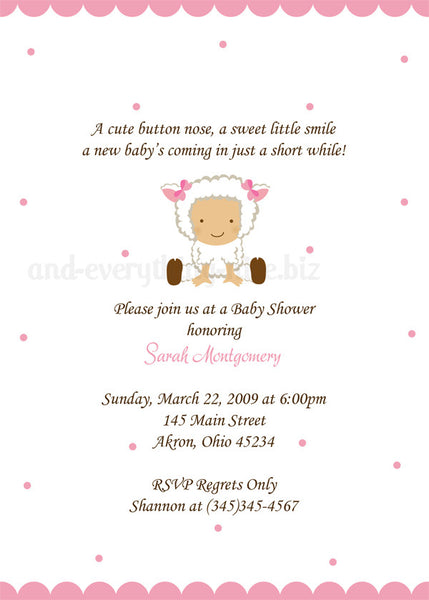 Baby Lamb Sheep Baby Shower Invitation • Any Colors Baby Shower Invitations - Everything Nice