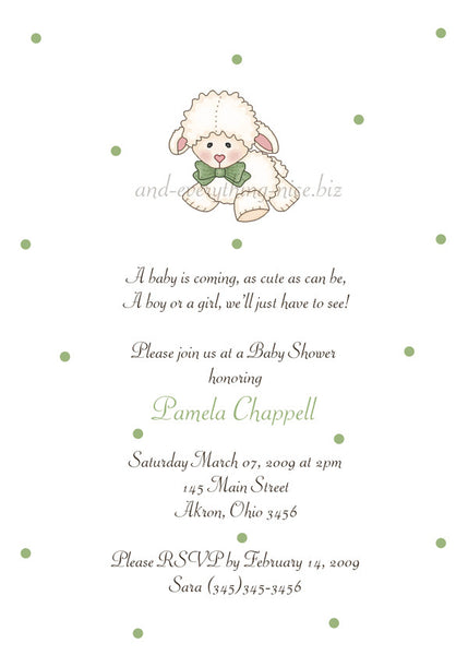 Little Lamb Sheep Party Invitation • Baby Shower Birthday • Any Colors Baby Shower Invitations - Everything Nice