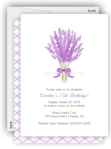 Lavender Flower Party Invitation • Baby Shower Birthday • Any Colors