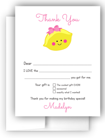 Lemon Thank You Cards Note Card Stationery •  Fill In the Blank Stationery Thank You Cards - Everything Nice