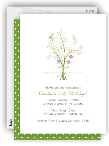 Lily of the Valley Flower Party Invitation • Baby Shower Birthday • Any Colors
