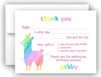 Llama Unicorn Thank You Cards Note Card Stationery •  Fill In the Blank Stationery Thank You Cards - Everything Nice