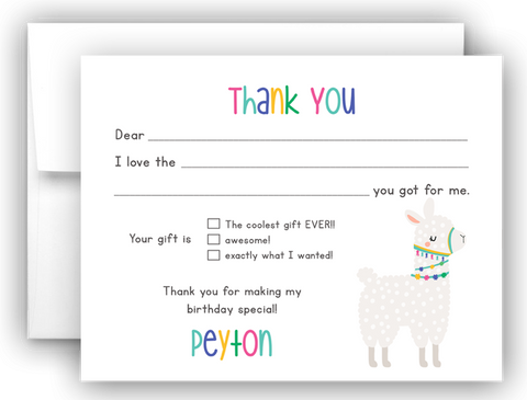 Llama Thank You Cards Note Card Stationery •  Fill In the Blank Stationery Thank You Cards - Everything Nice