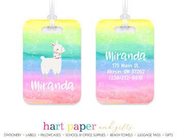 Llama Alpaca Rainbow Luggage Bag Tag School & Office Supplies - Everything Nice