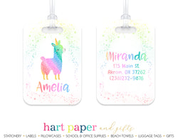 Llama Alpaca Rainbow Luggage Bag Tag