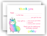 Rainbow Llama Thank You Cards Note Card Stationery •  Fill In the Blank Stationery Thank You Cards - Everything Nice