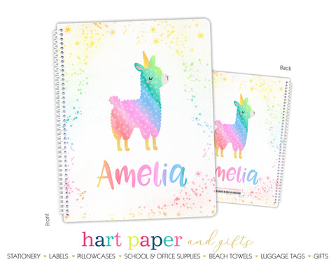 Rainbow Llama Personalized Notebook or Sketchbook School & Office Supplies - Everything Nice