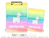 Rainbow Llama Personalized Clipboard School & Office Supplies - Everything Nice