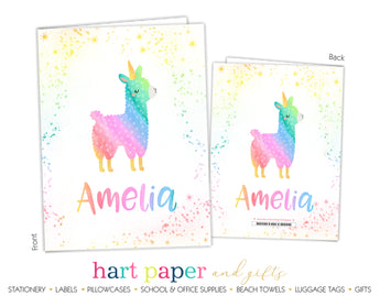 Llama Alpaca Rainbow Llamacorn Unicorn Personalized 2-Pocket Folder School & Office Supplies - Everything Nice