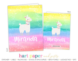 Llama Alpaca Rainbow Personalized 2-Pocket Folder