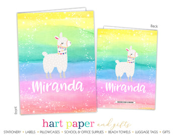 Llama Alpaca Rainbow Personalized 2-Pocket Folder School & Office Supplies - Everything Nice