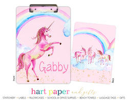 Rainbow Unicorn Personalized Clipboard