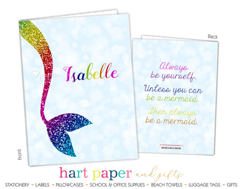 Rainbow Mermaid Tail Personalized 2-Pocket Folder School & Office Supplies - Everything Nice