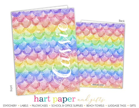 Mermaid Scales Rainbow Personalized 2-Pocket Folder School & Office Supplies - Everything Nice