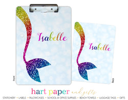 Rainbow Mermaid Tail c Personalized Clipboard