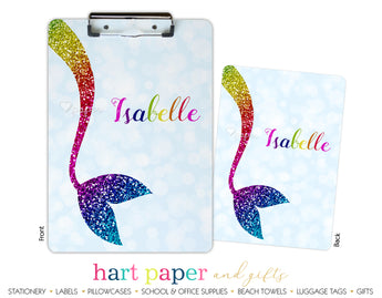 Rainbow Mermaid Tail c Personalized Clipboard School & Office Supplies - Everything Nice