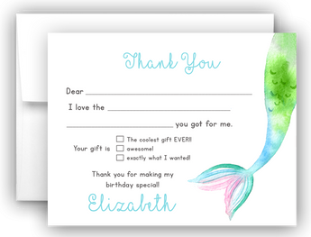 Mermaid Tail Thank You Cards Note Card Stationery •  Fill In the Blank Stationery Thank You Cards - Everything Nice