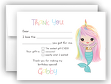 Mermaid Thank You Cards Note Card Stationery •  Fill In the Blank Stationery Thank You Cards - Everything Nice