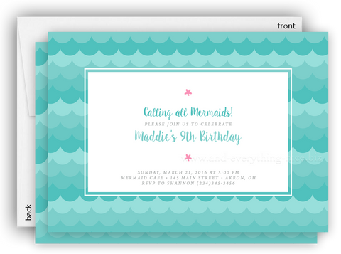 Mermaid Party Invitation • Baby Shower Birthday • Any Colors Baby Shower Invitations - Everything Nice