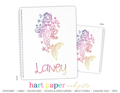 Rainbow Mermaid Personalized Notebook or Sketchbook School & Office Supplies - Everything Nice
