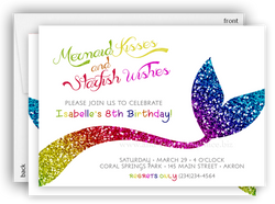 Rainbow Mermaid Tail Party Invitation • Baby Shower Birthday • Any Colors