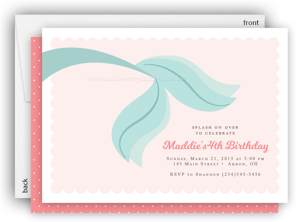 Mermaid Tail Party Invitation O Baby Shower Birthday Any Colors Everything Nice