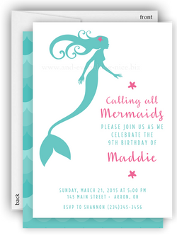 Mermaid Tail Party Invitation O Baby Shower Birthday Any Colors Invitations