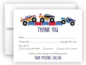 Monster Truck Thank You Cards Note Card Stationery •  Fill In the Blank Stationery Thank You Cards - Everything Nice