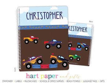 Monster Trucks Personalized Notebook or Sketchbook