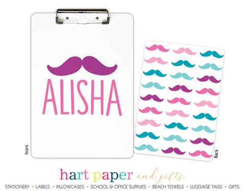 Rainbow Mustache Personalized Clipboard School & Office Supplies - Everything Nice
