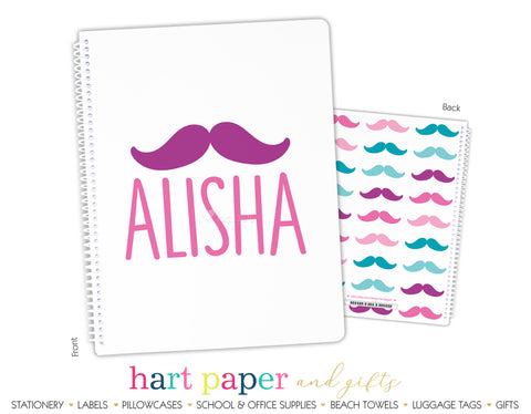 Rainbow Mustache Personalized Notebook or Sketchbook School & Office Supplies - Everything Nice