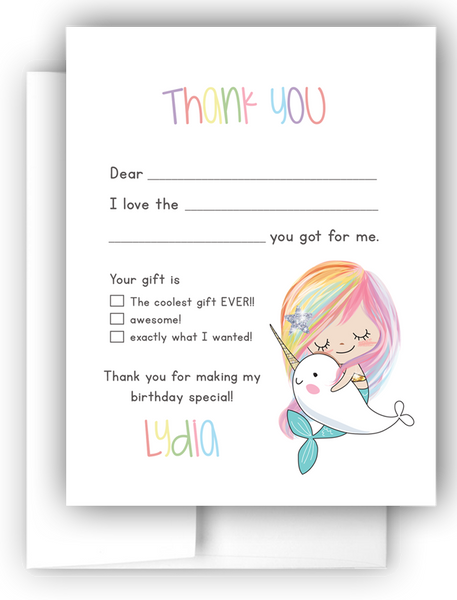 Mermaid & Narwhal Thank You Cards Note Card Stationery •  Fill In the Blank Stationery Thank You Cards - Everything Nice