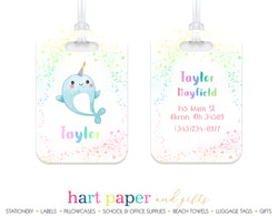 Narwhal Rainbow Luggage Bag Tag
