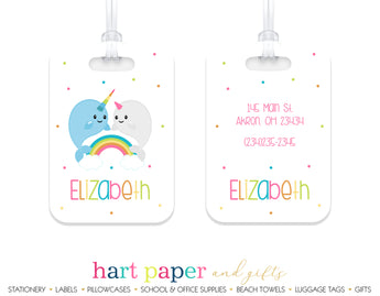 Narwhal Rainbow Luggage Bag Tag School & Office Supplies - Everything Nice