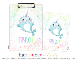 Narwhal Sea Unicorn Rainbow Personalized Clipboard