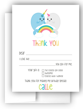 Rainbow Narwhal Thank You Cards Note Card Stationery •  Fill In the Blank Stationery Thank You Cards - Everything Nice