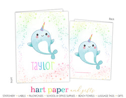 Narwhal Rainbow Personalized 2-Pocket Folder