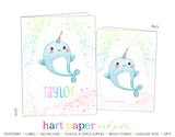 Narwhal Rainbow Personalized 2-Pocket Folder School & Office Supplies - Everything Nice