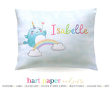 Narwhal Rainbow Personalized Pillowcase Pillowcases - Everything Nice